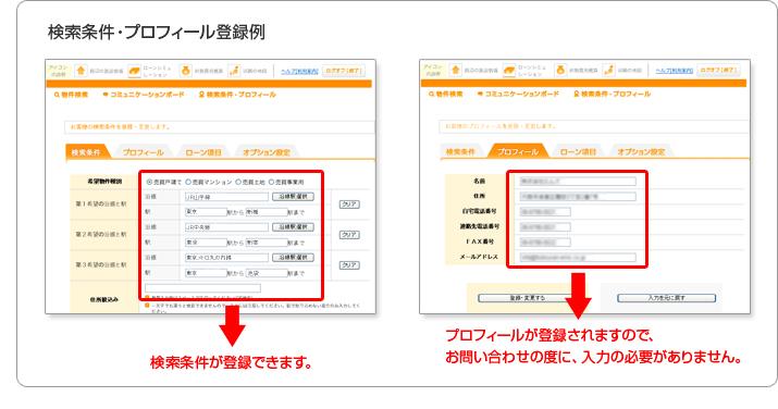 検索条件・プロフィール登録例